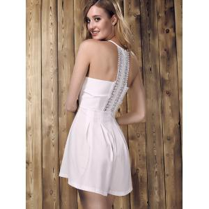 Chic Sleeveless Lace Spliced Hollow Out Solid Color Women's Romper - WHITE S