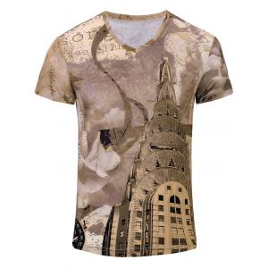 Building Printed V Neck Tee
