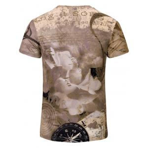 Building Printed V Neck Tee - BROWN S