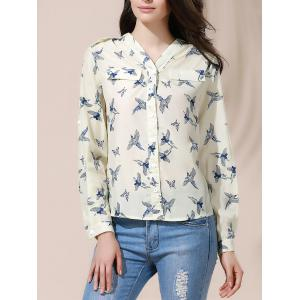Casual Style V-Neck Full Bird Print Long Sleeve Women's Blouse