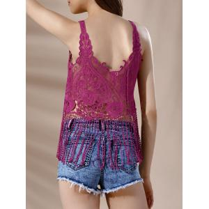 Lace Crochet Fringe Sheer Tank Top -