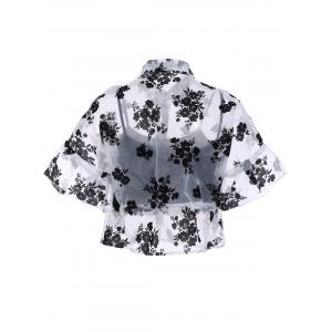 Stylish Shirt Collar 1/2 Sleeve Floral See-Through Blouse Twinset For Women -
