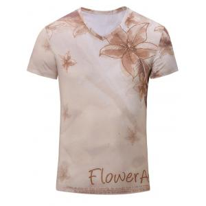 Casual Flower Printed Short Sleeves T-Shirt For Men - Yellowish Pink - 2xl