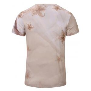 Casual Flower Printed Short Sleeves T-Shirt For Men - YELLOWISH PINK S