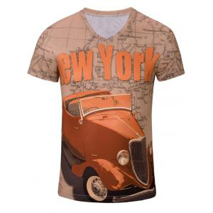 Casual Car Letter Printed Short Sleeves T-Shirt For Men