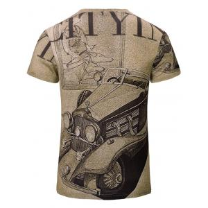 Trendy Car Printed Short Sleeves T-Shirt For Men - BROWN S
