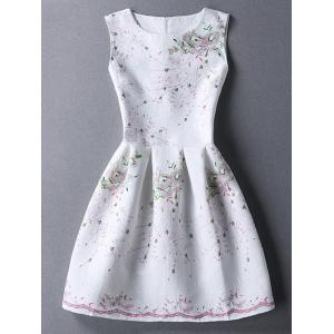 Ladylike Round Neck Sleeveless Printed Jacquard Women's Dress