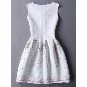 Ladylike Round Neck Sleeveless Printed Jacquard Women's Dress - WHITE M