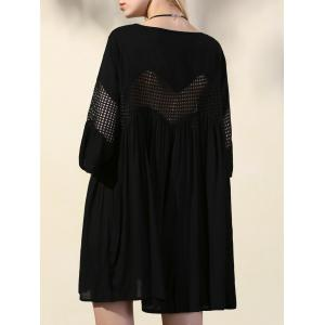 Stylish V-Neck 3/4 Sleeve Mesh Loose Cover Up For Women -