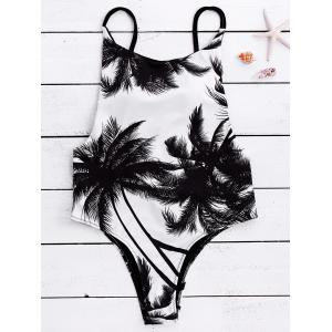 Spaghetti Strap Coconut Tree Print Tropical Backless Swimwear - White And Black - M