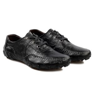 Fashionable Stitching and Lace-Up Design Casual Shoes For Men - BLACK 40