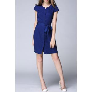 Short Sleeve Solid Color Belted Dress -