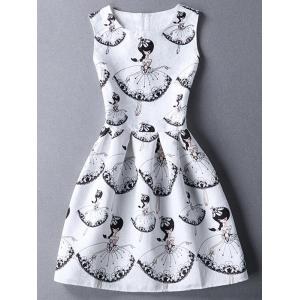 Cute Round Collar Sleeveless Girl Print Women's Dress - White - L