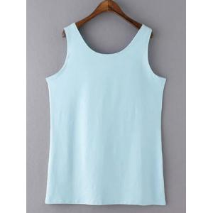 Casual Plus Size Scoop Neck Solid Color Slimming Women's Tank Top - BLUE XL