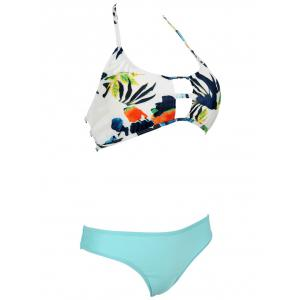 Sweet Floral Halter Neck Hollow Out Women's Bikini Set -