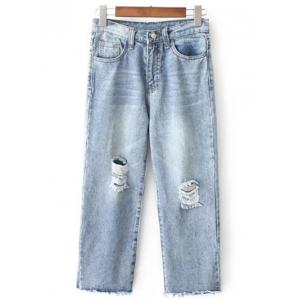 Fashionable Wide Leg Ripped Jeans For Women