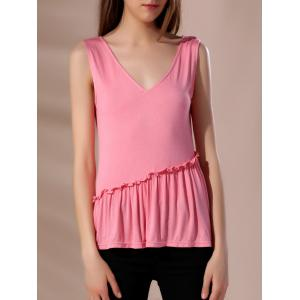 Women's Stylish Pink Sleeveless V-Neck Tank Top
