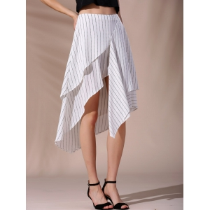 High-Waisted Pinstriped Asymmetric Skirt -