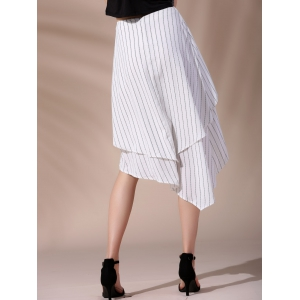 Fashionable High-Waisted Pinstriped Asymmetrical Skirt For Women - WHITE S