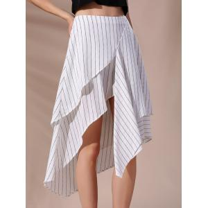 High-Waisted Pinstriped Asymmetric Skirt
