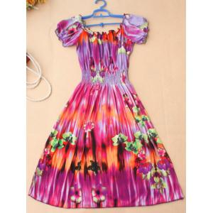 Stylish Women's Floral Print Scoop Neck Short Sleeve Dress -