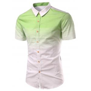 Turn-Down Collar Ombre Stripe Splicing Design Short Sleeve Shirt For Men