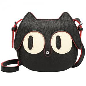 Cute Cat Shape and Black Design Crossbody Bag For Women - Black - 40