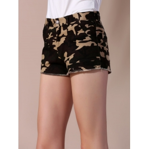 Frayed Camouflage Shorts with Pockets -
