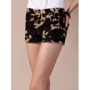 Frayed Camouflage Shorts with Pockets - ARMY GREEN L