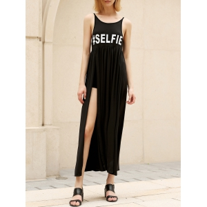 Casual Backless Slit Swing Cami Dress