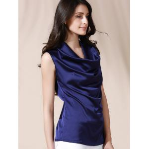 Graceful Cowl Neck Solid Color Sleeveless Women's Blouse -