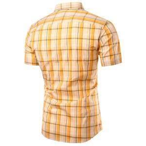 Turn-Down Collar Checked Design Short Sleeve Shirt For Men -