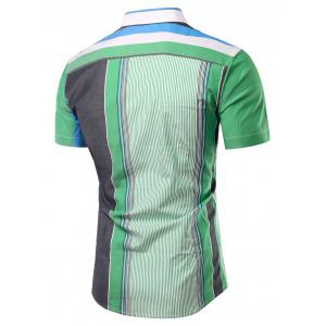 Turn-Down Collar Color Block Splicing Stripe Short Sleeve Shirt For Men -