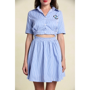 Stylish Women's Hollow Out Short Sleeve Striped Shirt Dress