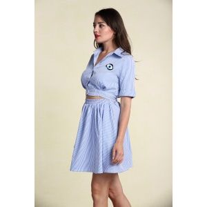 Casual Striped A Line Shirt Dress - LIGHT BLUE S