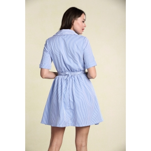 Stylish Women's Hollow Out Short Sleeve Striped Shirt Dress - LIGHT BLUE S