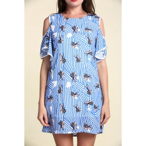 Stylish Women's Hollow Out Short Sleeve Flounce Jewel Neck Print Dress - Light Blue - 5xl