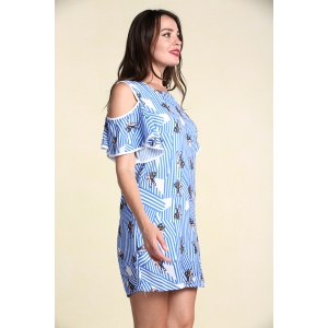 Stylish Women's Hollow Out Short Sleeve Flounce Jewel Neck Print Dress - LIGHT BLUE 4XL