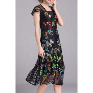 Embroidered Voile A Line Dress with Tank Top -