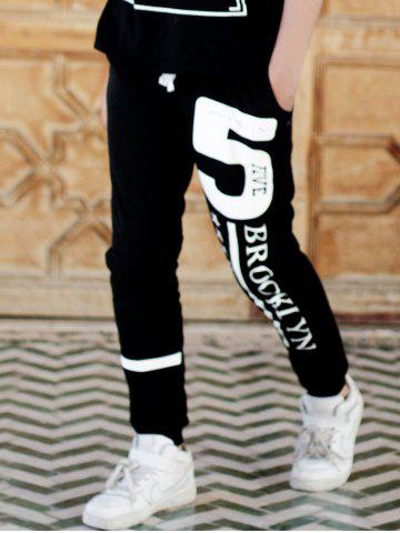 Outfits Beam Feet Hot Sale Letters Number Star Print Loose Fit Men's Lace-Up Sweatpants