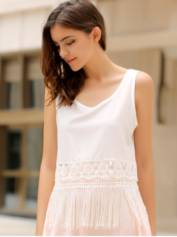 Fashion Stylish Scoop Collar Sleeveless Hollow Out Fringe Design Women's Tank Top - S WHITE Mobile