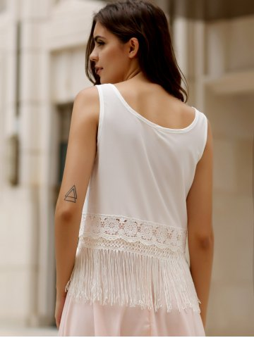 Outfits Stylish Scoop Collar Sleeveless Hollow Out Fringe Design Women's Tank Top - S WHITE Mobile