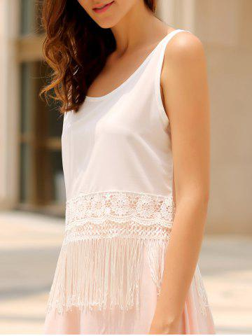 Buy Stylish Scoop Collar Sleeveless Hollow Out Fringe Design Women's Tank Top WHITE S