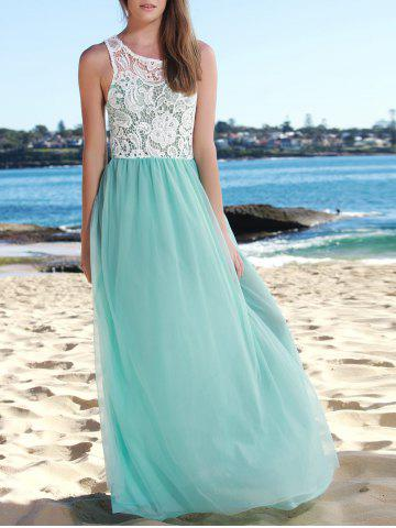 Chic Lace Panel Long Wedding Formal Chiffon Dress LAKE BLUE XL