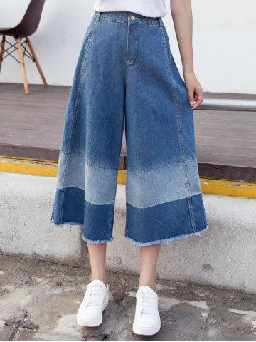 Sale Stylish Zipper Fly Color Block Fringed Ninth Length Pants For Women