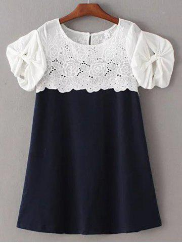 New Sweet Round Collar Short Sleeves Cut Out Patchwork Laciness Dress For Women