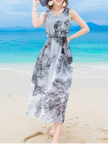 Buy Elegant Scoop Neck Sleeveless Printed Dress + Pure Color Sundress Twinset Women
