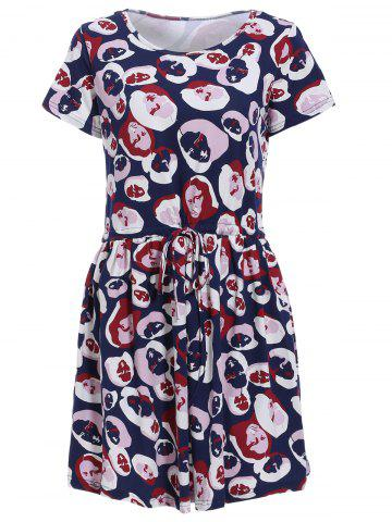 Store Fashionable Jewel Neck Short Sleeves Face Print Dress For Women