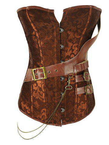 Store Retro Style Steel Boned Patchwork Floral Corset For Women