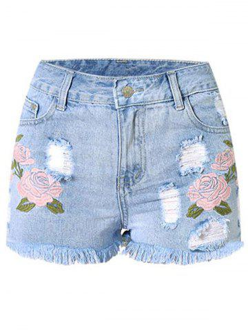 Buy Stylish High Waist Embroidered Flower Denim Ripped Shorts Womens
